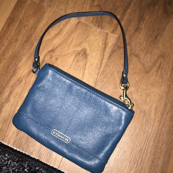Coach Handbags - Blue coach wristlet in excellent condition